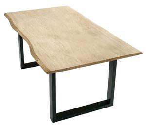 SIT Möbel Esstisch Baumkante 160 x 85 cm | Plattenstärke 26 mm | Akazie hell gekälkt antikfinish | Gestell Stahl antikschwarz | B 160 x T 85 x H 77 cm | 07107-65 | Serie TABLES & CO