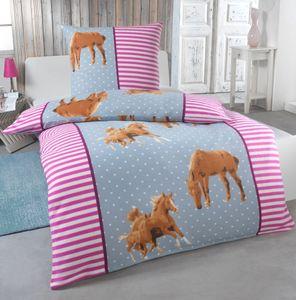 2 teilige Kinder Warme Kuschel Fleece Bettwäsche 135x200 + Kissenhülle 80x80 Einhorn Feuerwehrmann Pferd Pinguin, Designe:Pferde