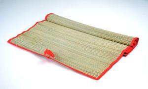 Strandmatte aus Bast 60x180 cm, Bastmatte, rot eingefasst