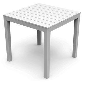 Gartentisch Eckig Weiß 78x78x72cm Holz-Optik