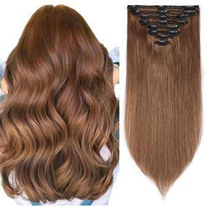Clip in Extensions Echthaar Doppelt Tressen Haarverlängerung 8 Teiliges SET 100% Remy Hair für komplette Kopf Hellbraun 45 cm