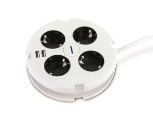 REV Steckdosenleiste PowerDisc, Mehrfachsteckdose 4fach, USB, rund, weiß-schwarz
