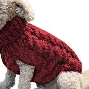 ASKSA Hundepullover Haustier Warmer Mantel Strickwolle Winterpullover für kleine und mittelgroße Hunde(Rot,L)
