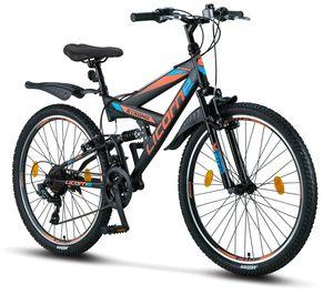 Licorne Bike Strong V Premium Mountainbike in 24 und 26 Zoll - Fahrrad für Jungen, Mädchen, Damen und Herren - Shimano 21 Gang-Schaltung - Vollfederung, Farbe: Schwarz/Blau/Orange, Zoll:26