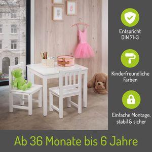 BOMI® Kindertisch mit 2 Stühlen Amy aus Kiefer Massiv Holz für Kleinkinder, Mädchen und Jungen Weiß