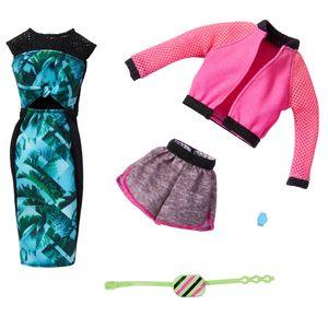 Barbie Fashions 2er-Pack Moden (Sportoutfit und Kleid mit Tropenmuster)