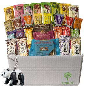 Veganes Probierpaket 24 glutenfreie Riegel ohne Zuckerzusatz plus Playmobil Panda
