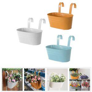 Blumenübertopf Blumentopf Pflanztöpfe Hängetöpfe Pastellfarben für Balkon oder Geländer Vintage Design 3 Stück , Größe:27 cm