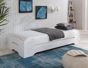 Stapelbetten-Set mit Matratzen 2x 100x200 cm Kiefer massiv weiß Sylt