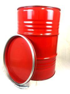Metallfass 210 Liter Blechfass Fass Ölfass Tonne mit Deckel Rot