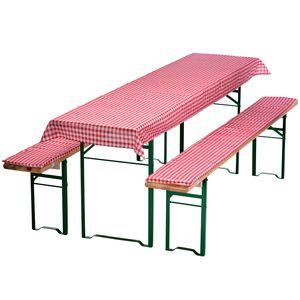 Auflagen-Set für Bierzeltgarnitur Rot-Kariert 3-teilig Tischdecke 240 x 90 cm für 70 cm breite Biertische und 2 gepolsterte Bankauflagen 220 x 25 cm