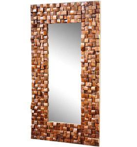 Massiver Teakholz Spiegel Mosaik Teak Wandspiegel Badspiegel Massivholz 100 x180 cm