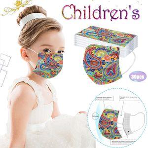 Kinder Cashew Flower Leopard Print Dreischichtige Einweg-Schutzmaske