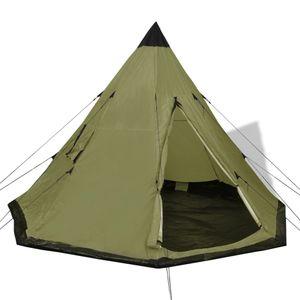 Huicheng Tipi Zelt 365 x 365 x 250 cm Indianerzelt Campingzelt 4 Personen Pyramidenzelt Grün, VD32240_DE