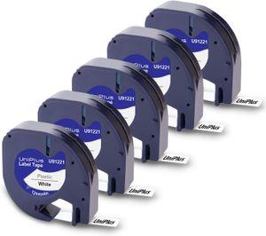 5x Uniplus 12mm 0.47 Kompatibel Schriftband Ersatz für Dymo 91221 S0721660 91201 Plastic Schwarz auf Weiß für Dymo S0883990 LetraTag LT-100H LT-100T Plus LT-110T QX 50 XR XM 2000 Beschriftungsgerät