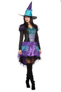 Wilbers & Wilbers Hexenkostüm Hexe Hexen Kostüm Halloween Witch Zauberin Vampir Gothic Hexenkleid Schwarz/Blau/Lila L