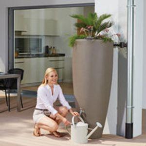 Regentonne 300 Liter Garantia 2in1 Wasserbehälter mit integrierter Pflanzschale taupe