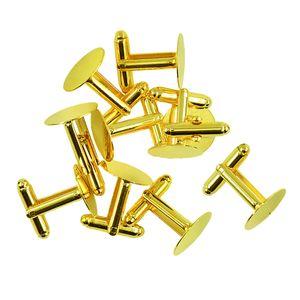 10 Stücke Französisch Manschettenknöpfe Blank Flache Kleber Pad Männer Gold Mode 15 mm