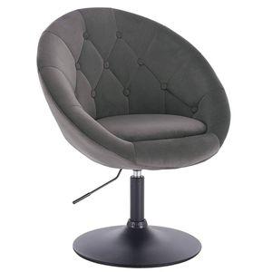 Loungesessel mit Armlehne aus Samt - Modell Timo : dunkelgrau Farbe: dunkelgrau