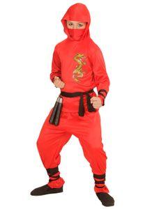 Kostüm Ninja Dragon Kinder rot 6-tlg. Größe: 158