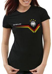 style3 Deutschland EM 2021 2022 Damen T-Shirt Germany Fußball Europameisterschaft Trikot, Farbe:Schwarz, Größe:M