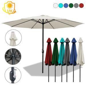 TolleTour 3m-3.5m Sonnenschirm Marktschirm mit Handkurbel UV40+ Outdoor-Schirm Terrassen Gartenschirm,Blau,3m