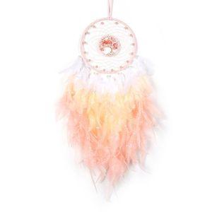 Traumfänger traditionelle Feder, Traumfänger mit LED-Licht rosa Feder, hängende dekorative Kristallfänger für Kinder Schlafzimmer Wand