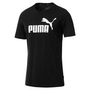 PUMA ESS Logo Herren T-Shirt Baumwolle Schwarz, Größe:XL