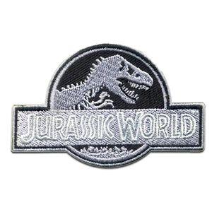 Jurassic World © Dinosaurier Aufnäher Patch Bügelbild Sticker Flicken Aufbügler Applikation, Größe: 8 x 5,2 cm, Motiv:Logo 8 x 5.2 cm