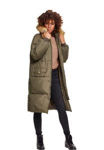 Urban Classics Damen Jacke Ladies Oversize Faux Fur Puffer Coat Darkolive/Beige-4XL