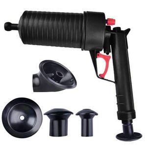 Pressluft Rohrreiniger, für verstopfte Abflüsse, Bad & Küche, 4 Aufsätze, Überdruckventil, Abflusspumpe, schwarz, 1 Stück