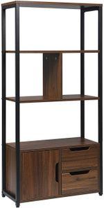 WOLTU RGB09dc Bücherregal Bücherschrank Küchenregal Büroregal mit Schrank und Schubladen MDF Metall 58x24x120cm, Dunkelbuche
