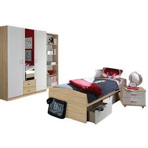Jugendzimmer Acun 4-tlg weiß grau sonoma eiche Kinderzimmer Kleiderschrank Regal Bett inkl 3 Schubkästen Schreibtisch