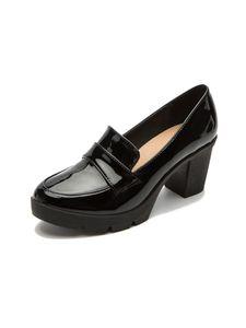 Damen Lolita Oxford Schuhe Rutschfeste Atmungsaktive Freizeitschuhe Leder High Heels,Farbe: Schwarz ,Größe:42