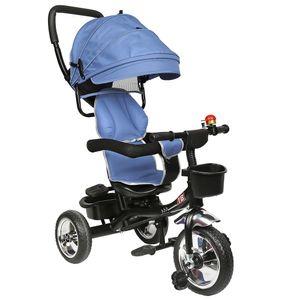 WYCTIN  Dreirad Kinderdreirad 4 in 1 Lenkstange Fahrrad Baby Kinderwagen dunkelblau