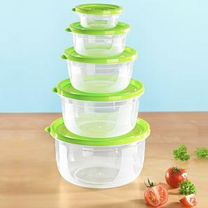 10 tlg Frischhaltedosen 5 Schüsseln 5 Größen im Set Deckel Grün Transparent Dose Küchenbehälter Kunststoffbehälter Lebensmittelbehälter