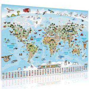 Kinder Weltkarte XXXXL Poster - 160 x 120 cm -  Panorama Kinderweltkarte Kinderkarte Kinderzimmer Wanddeko