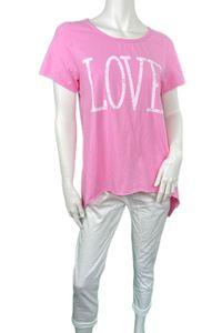Oversize T-Shirt Rundhals Love , Größe:Einheitsgröße (36-46), Farbe:Rosa