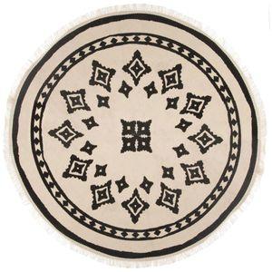 Teppich NOMADIC mit Fransen, rund, schwarz-beige, Dm. 90 cm, Ethno/Boho-Stil  - Atmosphera