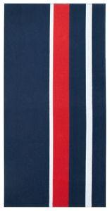 Strandtuch XXL aus Baumwolle, 100x200 cm, blau-rot-weiß gestreift