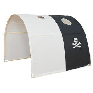 Homestyle4u 1439, Kinder Pirat Tunnel Für Hochbett, Baumwolle, Schwarz Weiß, 100 x 90 x 70 cm