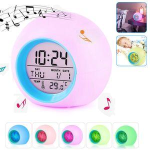 Kinderwecker, 7 Farbwechsel LED Lichtwecker, 6 natürliche Klänge Schlaf verbessern LED Digitaler Wecker für Schlafzimmer