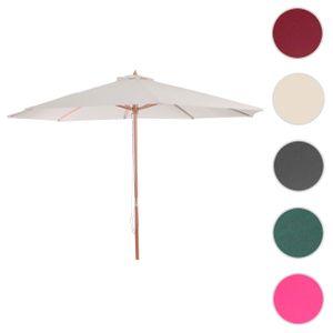 Sonnenschirm Florida, Gartenschirm Marktschirm, Ø 3m Polyester/Holz  creme