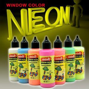 7x Neon Set Window Color Fenstermalfarben Fensterfarben Malfarben Fensterbild