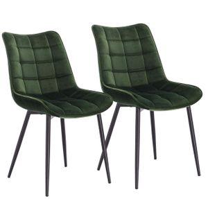 WOLTU Esszimmerstühle BH142dgn-2 2er Set Küchenstuhl Polsterstuhl Wohnzimmerstuhl Sessel mit Rückenlehne, Sitzfläche aus Samt, Metallbeine, Dunkelgrün