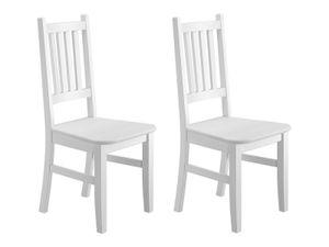 Weißer Küchenstuhl Massivholzstuhl Esszimmerstuhl Stuhl Eris Kiefer 90.71-01-DW Set