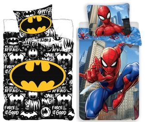 Batman & Spiderman - 2 x Wende-Bettwäsche-Set, 135x200 & 80x80 cm