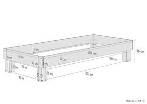 Holzbett Einzelbett 90x200 Buche Bettrahmen Futonbett mit wählbarem Zubehör  V-60.87-09, Ausstattung:ohne Zubehör
