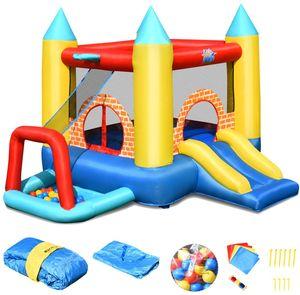 COSTWAY Huepfburg aufblasbar, Springburg mit 30 Bälle, Hüpfschloss mit Rutsche, Spielburg für Kinder 300x280x210 cm
