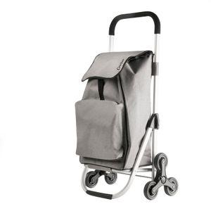 Einkaufstrolley / Treppensteiger bis 25kg mit kleiner Kühltasche grau